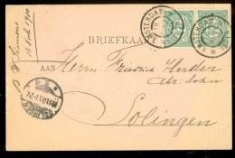 HANDGESCHREVEN BRIEFKAART Uit 1900 Van AMSTERDAM Naar SOLINGEN  (9836L) - Periode 1891-1948 (Wilhelmina)
