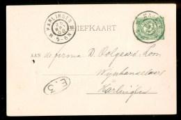 HANDGESCHREVEN BRIEFKAART Uit 1908 Van MAKKUM Naar HARLINGEN (9837) - Periode 1891-1948 (Wilhelmina)