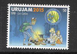 Boy Scouts Girl Scouting Doing Bonfire Cartoon URUGUAY 2015 MNH STAMP - Scouting