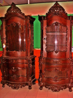 Antique Red Mahogany China Displays 2-Matching 8.5ft