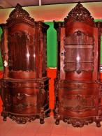 Antique Red Mahogany China Displays 2-Matching 8.5ft - Furniture