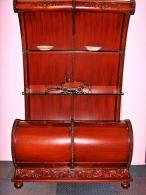 Antique Red Mahogany SLEIGH BACK curio shelves