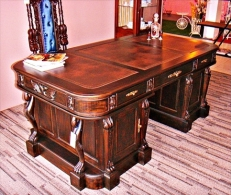Antique Dark Mahogany Leather-Top Executive Desk
