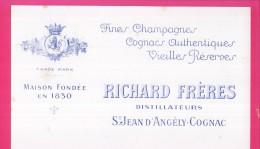 B147 - BUVARD -  Fines Champagnes - Cognac - RICHARD FRERES Distillateurs St. JEAN D'ANGELY-COGNAC - Liquore & Birra