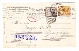 Ägypten -  14.7.1916 Alexandria Zensurierte Vorgedrückte Postkarte Nach Genova Weitergel. Nach Zürich - Poste Aérienne