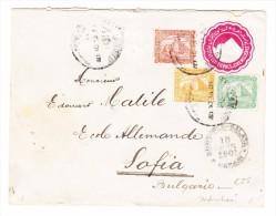 Ägypten -  10.6.1901 Alexandrie Ganzsachen Brief Mit Zusatzfrankatur  3 Farbig  Nach Sofia Bulgarien - Poste Aérienne