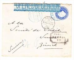 Ägypten - 19.7.1916 El Saf Blau Transit Cairo Zensur Ganzsache Nach Zürich Mit Ankunftstempel - Égypte