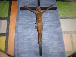 Christ Ancien Bois Sculpé-croix-crucifix - Religion & Esotérisme