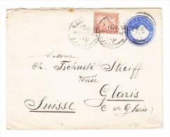 Ägypten - 18.12.1897 Alexandria Ganzsachen Brief Mit Zusatzfrankatur Nach Glaris Schweiz - 1866-1914 Khédivat D'Égypte