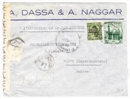 Ägypten - 6.3.1954 Alexandria Zensur Brief Nach Vaduz FL - Égypte
