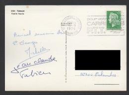 DF / SUR CP DE TALMON / TP 1536A TYPE MARIANNE DE CHEFFER / OBL. 17 ST GEORGES DE DIDONNE 5 -9 1974 FLAMME CARRIERES PTT - Storia Postale