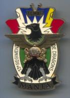 France Belgium Army Military - MANTA TCHAD, Operation Insignia, Parachuting, Big Badge Pin, Enamel 60 X 40 Mm - Militaria