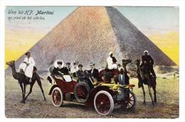 """AK Ägypten Carte Publicitaire Automobiles Martini St Blaise """"Une 40HP Au Pied De 40 Siècles"""" Exp. 18.10.1911 - Le Caire"""