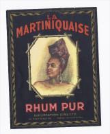 étiquette RHUM PUR LA MARTINIQUE / LA MARTINIQUAISE PARIS CHARENTON Illustration Femme - Rhum