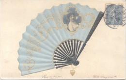 EVENTAIL FAN VENTILATOR ABANICO SEDA SOIE SILK CPA CIRCULEE 1906 FROM S.E. SANGUINETTI A MONTEVIDEO URUGUAY TOP CARTE - Altri