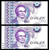 """2 Test Notes DE LA RUE """"Babbage"""", Typ 1 + Typ 2, Gr. + Kl. Pkte., Testnoten , Eins. Druck, RRR, UNC, SPECIMEN - Ver. Königreich"""