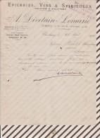 Facture / Courrier 1909 DIVETAIN LEMARIE CHERBOURG EPICERIES VINS SPIRITUEUX - France