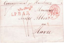 """1845 - Lettre From Rotterdam To Le Havre """" Connaissement Pr Hambourg """"v + L.P.B.4.R Red + PAYS-BAS / LE HAVRE - Netherlands"""