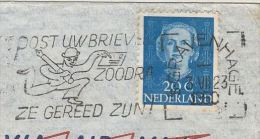 1950 Air Mail NETHERLANDS Stamps COVER SLOGAN  Pmk LETTER WRITING  Illus MAN With PEN &  LETTER To GB - Period 1949-1980 (Juliana)