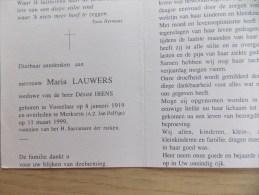 Doodsprentje Maria Lauwers Vosselaar 8/1/1919 Merksem 11/3/1999 ( Désiré Ibens ) - Religione & Esoterismo