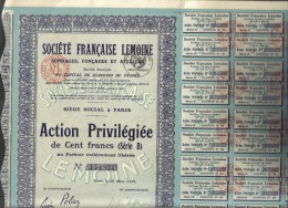 Societè Francaise Lemoine Action Privilegiee De 100 Francs 20 Mars 1926 DOC.129 - Azioni & Titoli