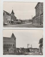 2 CPSM De FORRIERES : 1) Place De La Gare ( Avec Ancien Autocar ) Et 2) Nouvelle église Et Rue De Masbourg - Nassogne