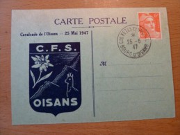 Carte Postale Cavalcade L'OISANS Belle Oblitération Du 25 Juillet 1947 Bourg D'Oisans Gandon 6f - Postmark Collection (Covers)