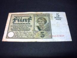 ALLEMAGNE 5 Rentenmark 02/01/1926, Pick N° KM 169, GERMANY - [ 3] 1918-1933 : Repubblica  Di Weimar