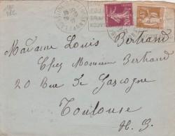 Yvert  190 Semeuse + 282 Paix Flamme Daguin LABASTIDE ROUAIROUX Tarn Sur Lettre 1937 Pour Toulouse Monnaie Exposition - Francia