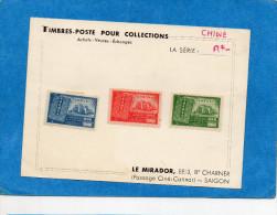 """CHINE-3Timbres 1947 SérieN°617-9-New Constitution- Bristol """"MIRADOR""""telle Que Vendue En Indochine Années 50 - Chine"""