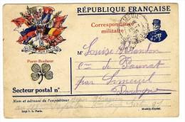 FRANCHISE MILITAIRE CORRESPONDANCE MILITAIRE  GLOIRE AUX ALLIES  -  CACHET LIMEUIL 1916 - Postzegels