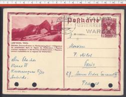 "AUTRICHE - 1936 -  CARTER ENTIER POSTAL ILLUSTRE "" LERMOOS, TIROL "" DE VIENNE VERS PARIS - - Stamped Stationery"