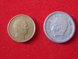Lot De 2 Monnaies Monaco - Monaco
