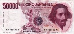 Banconota/Banconote-Monete-50.000 LIRE -BERNINI-SERIE KB 080687 M- Buona Conservazione-AUTENTICA AL 100%- 2 SCAN- - 50000 Lire