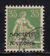 Switzerland Used Scott #2O19 For The League Of Nations 35c Helvetia - Fraudulent Overprint? - Officials