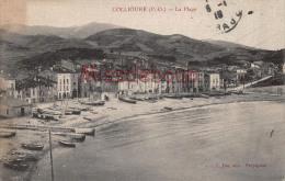 66 - COLLIOURE   -  La Plage  - Barques  - 1919 - 2 Scans - Collioure