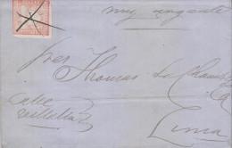 """G)1871 PERU, 5 CTS. CALLAO ROSE, CANC. AND """"MUY URGENTE"""" TRAIN MANUSCRIPT , CIRCULATED COMPLETE LETTER TO LIMA, XF - Peru"""