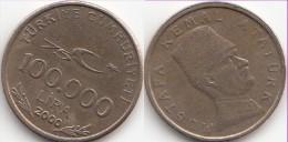 Turchia 100.000 Lira 2000 75th Ann. Republic Km#1078 - Used - Turchia