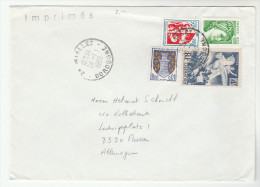 1980 Miallet FRANCE COVER Stamps 4f Liberation WINGED HORSE  0.01 0.05 Arms Heraldic Lion, 1f  To Germany Horses - France