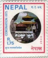 CORONATION OF KING BIRENDRA PASHUPATINATH TEMPLE 1975 RUPEE 1.75 STAMP NEPAL 1975 MINT MNH - Familles Royales