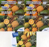 CARTES PREPAYEES  OUTREMER TELECOM  FRUITS  Ananas Oranges Bananes  80FF/80FF/80/12e/10e   (lot De 5)  4366 - Antilles (Françaises)
