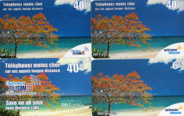 CARTES PREPAYEES  OUTREMER TELECOM  Flamboyants  40FF/40FF/40FF/6e  (lot De 4)  6481 - Antilles (Françaises)