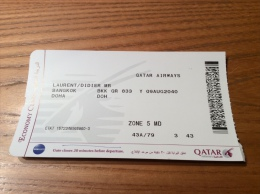 "Billet D´avion ** ""QATAR AIRWAYS - BANGKOK - DOHA"" - Billets D'embarquement D'avion"