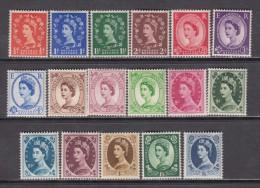 1952 - 1954    SG -  Nº 515 / 531  ,   YVERT  Nº 262 / 278   / ** / - 1952-.... (Elizabeth II)