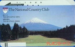 Télécarte Ancienne Japon UNDER 1000 / 110-828 - Volcan MONT FUJI & GOLF CLUB - Japan Front Bar Phonecard - 225 - Montagnes