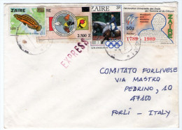ZAIRE - EXPRESS COVER TO ITALY - 1992 / THEMATIC STAMPS - FISH-OLYMPIC GAMES - HUMAN RIGHTS - Zaire