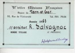 Carte De Membre Titulaire VIEILLES MAISONS FRANçAISES Région Tarn Et Garonne En 1963 - Livres, BD, Revues