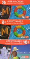 CARTES PREPAYEES  EKO CARD  50F/50F/100F Guadeloupe Martinique Réunion  Saint-Martin Paris   (lot De 3)   0984 - Antilles (French)