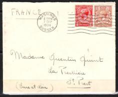 Lettre De HASTINGS Le 7 Sept 1934 Avec 2 Timbres Pour LA PRESTRIERE ST PREST  Eure Et Loir - 1902-1951 (Kings)