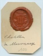 CACHET HISTORIQUE EN CIRE  - Sigillographie - SCEAUX - 100 Chatillon De Marconnay - Cachets